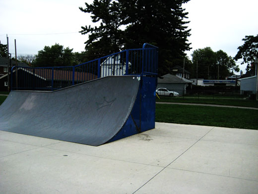 Skateboard ramp at University Avenue park, on top of which there is yet another clear view of the Ceasar's sign