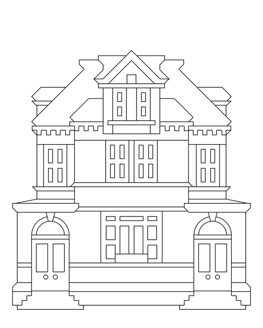Gallery For > Community Buildings Coloring Pages