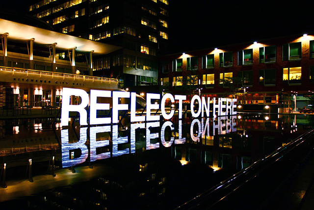 Reflect on Here, text installation at CAFKA by Broken City Lab
