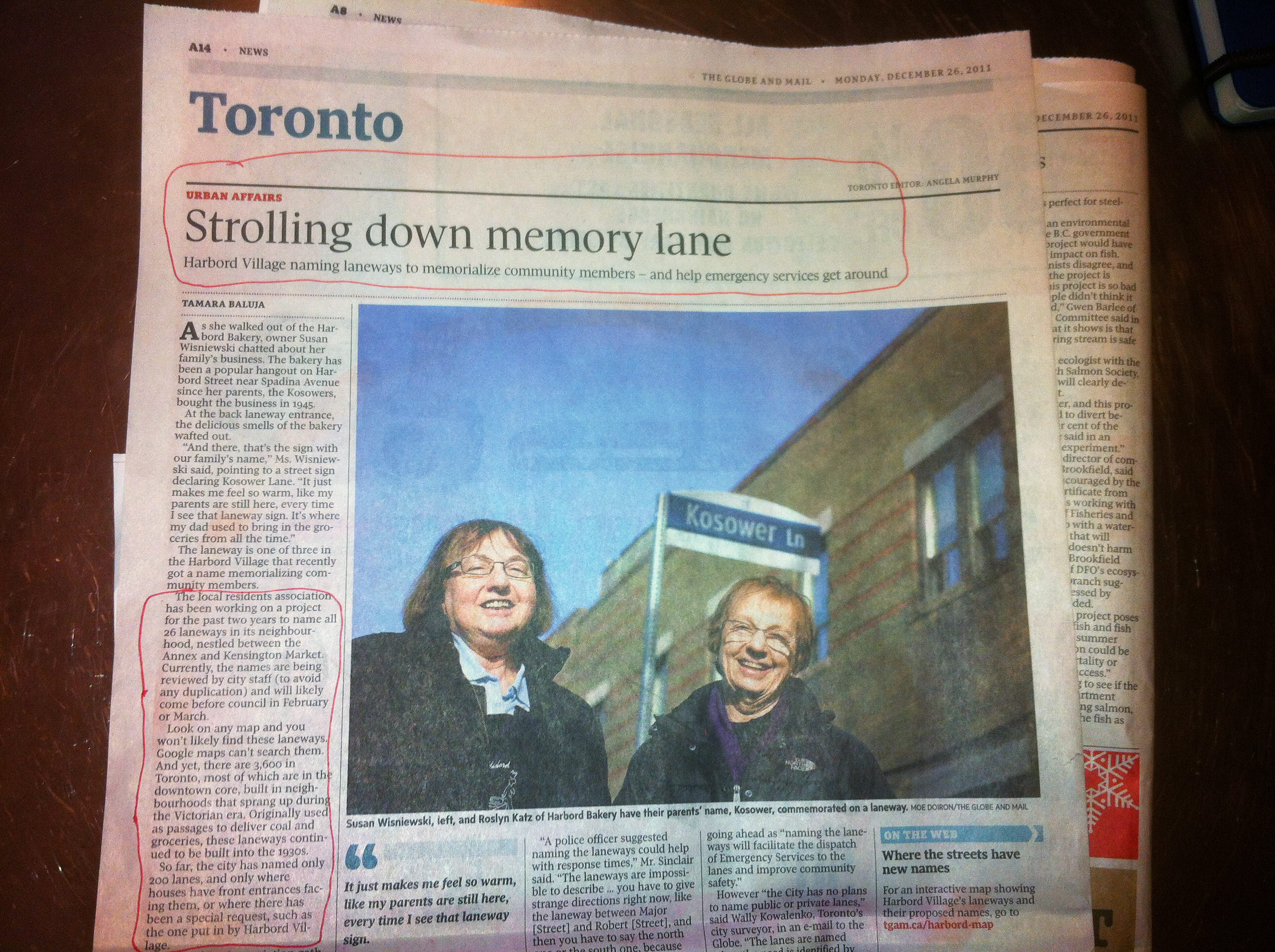Photo from the December 26, 2011 edition of the Globe & Mail