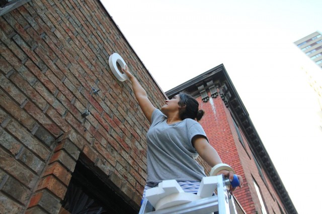 Installing some signage on the exterior wall of CIVIC SPACE (12)