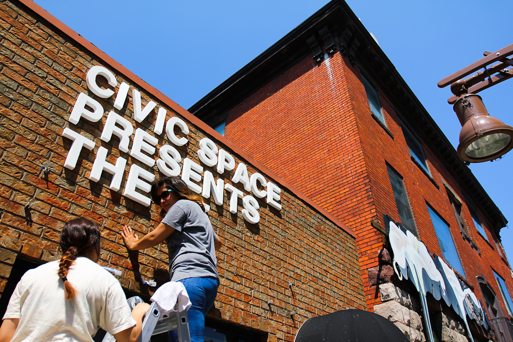 This is Happening: Installing our sign at CIVIC SPACE