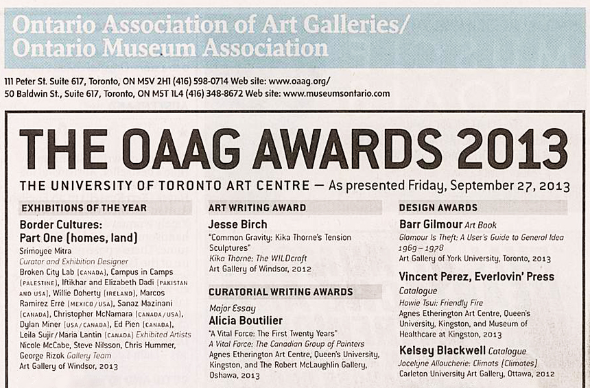 AGW's Border Cultures: Part One (homes, land) Exhibition Wins OAAG Award